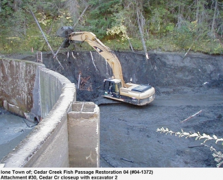 Cedar Creek Dam Removal During Construction